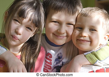 smiling children - sister and brothers