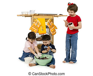 Half Baked - Three adorable toddlers 2, 3 and 4 making cakes...
