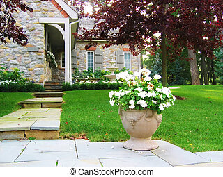 Flower Urn - Concrete flower urn with step to a beautiful...