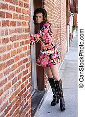 Beautiful Go Go Girl - Beautiful go go girl outside doorway...