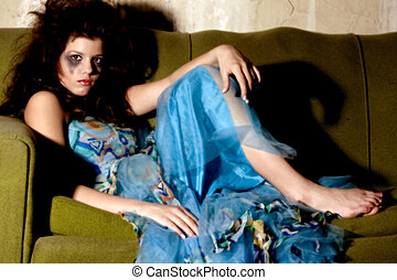 Goth Girl - Young woman in formal dress and goth make-up...