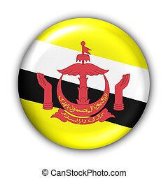 Brunei Flag - World Flag Button Series - Asia - Brunei With...