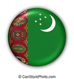 Turkmenistan Flag - World Flag Button Series - Asia -...