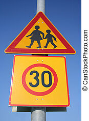 Traffic sign - children and speed limit
