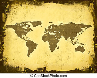World Map, grunge - World Map, continents from squares