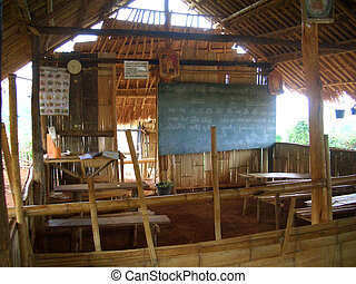 Hill Tribe Classroom - Hill tribe classroom in Chang Rai,...