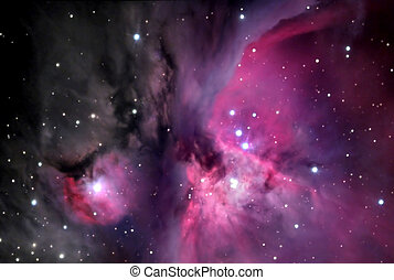 Orion Nebula. 25 stacked images through telescope