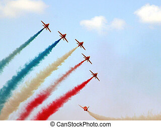 One Away - Red Arrows during airshow