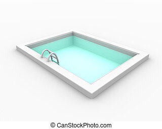 Pool 3 - 3D rendered mini swimming pool. Isolated on white....