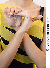 Joint Hypermobility - Girl with joint hypermobility syndrome...