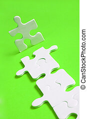 Jigsaw Path - Jigsaw man with piece path