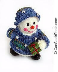 Christmas snowman - Smile Christmas snowman on a white...