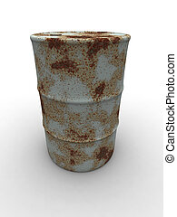 Rusty Barrel 2 - 3D rendered Illustration. Isolated on...