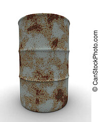 Rusty Barrel 1 - 3D rendered Illustration. Isolated on...