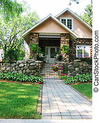 Cobblestone House - Cobblestone house with path to front...