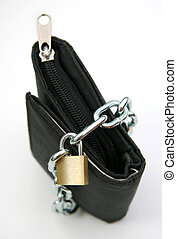 Purse with padlock 1 - A wallet with a chain and padlock -...