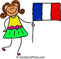 French kid - little girl holding flag of France - toddler...