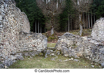 valchvriere ruins - the ruins of a house in the deserted...