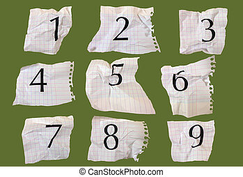 graph paper numbers - Numbers printed on graph paper,...