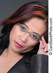 Woman with glasses - Asian Girl with hand on Eye Glasses