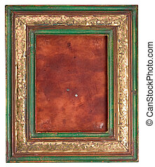 old picture frame, wooden + copper, inside leather, with...