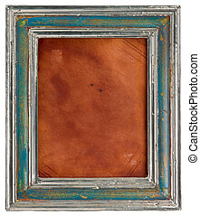 old picture frame, wooden + silver, inside leather, with...