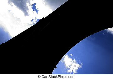 railway bridge in back light - railway bridge in Herdecke,...