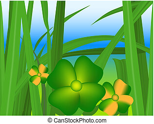 Green grass - Illustration of green grass and flowers