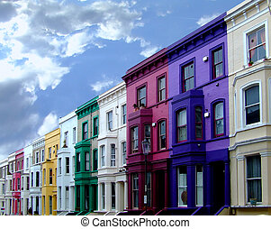 Colorized buildings 2 - Buildings in a row in multi color...