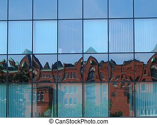 Historic reflection - Historic houses reflected in modern...