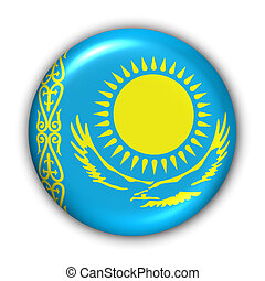 Kazakhstan Flag - World Flag Button Series - Asia -...