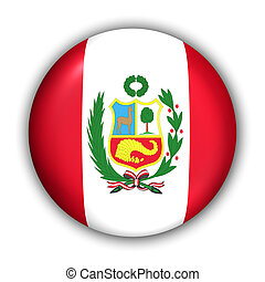 Peru Flag - World Flag Button Series - South America - Peru...