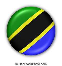 Tanzania Flag - World Flag Button Series - Africa - Tanzania...