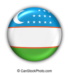 Uzbekistan Flag - World Flag Button Series - Asia -...