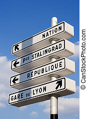 Parisian directions - Parisian street orientation signs -...