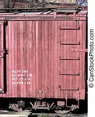 Barn Red - Freight car on historic antique narrow gauge...