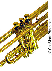Trumpet - Isolated image of the mid-section of a trumpet