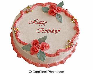 Elegant cake - Elegant celebration cake (isolated) with red...