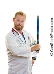 Fit and Healthy - Medical practitioner holding a tennis...