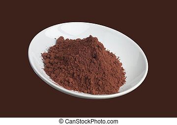 Cocoa powder on a dish