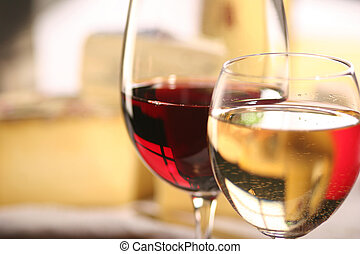 Cheese and wine - cheese and two glasses of wine