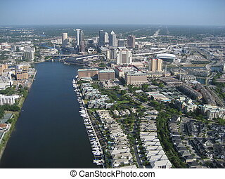 Aerial of Tampa,FL3 - Over Tampa in April3