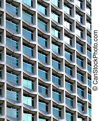 Modern architecture building detail with square windows