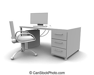 PC Workplace - 3D rendered workplace setup with PC.