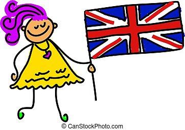 British kid - little girl holding union jack - toddler art...
