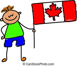Canadian kid - little boy holding canadian flag - toddler...
