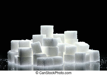 sugar cubes on black