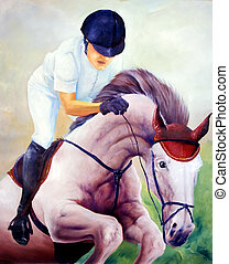 Jockey oil painting - I am author of this image, person is...
