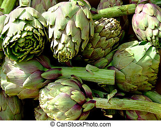 Artichokes - Bunch of artichokes in a basket on market