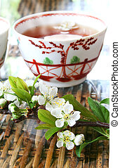 Tea and Blossom - Tea and blossom on rattan table